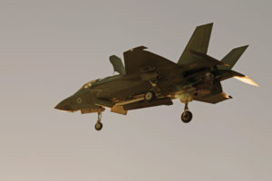 U.S. Marines with Marine Fighter Attack Squadron 121 (VMFA-121) conduct a day and night short Takeoff Vertical Landing (STOVL) with F-35B Lightning II at Marine Corps Air Station Yuma. (U.S. Marine Corps photo by Cpt. Aaron James B. Vinculado)