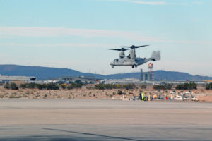U.S. Marine Corp MV-22B Osprey tiltrotor aircraft with Marine Medium Tiltrotor Squadron (VMM) 163, Marine Air Group (MAG) 163rd Marine Aircraft Wing (MAW) takes off from Marine Corps Air Station Yuma, Ariz. (U.S. Marine Corp photo by Cpl. Tyler C. Gregory, 3rd MAW).
